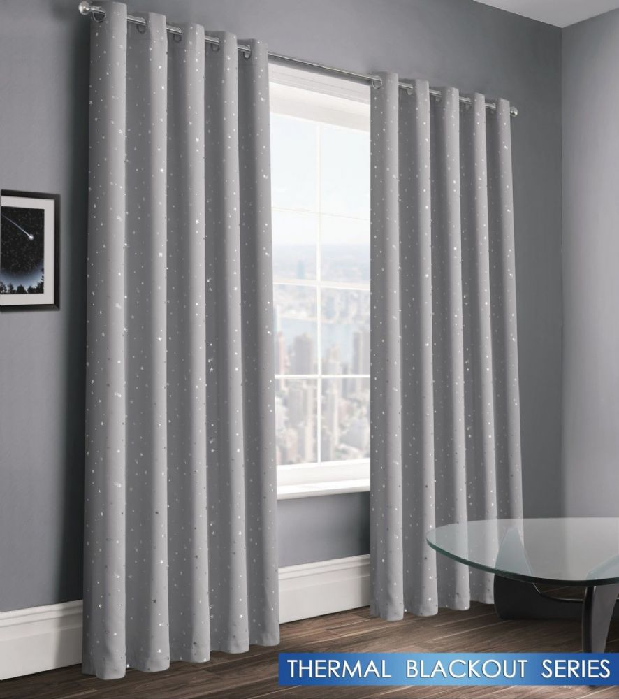 STARS STARLIGHT BOYS KIDS BEDROOM THERMAL BLACKOUT RINGTOP EYELET CURTAINS GREY